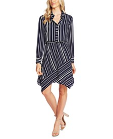 Striped Asymmetrical-Hem Shirt Dress