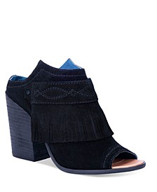Women's Shaker Leather Peep Toe Bootie