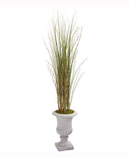 Nearly Natural 49in. Grass and Bamboo Artificial Plant in Gray Urn