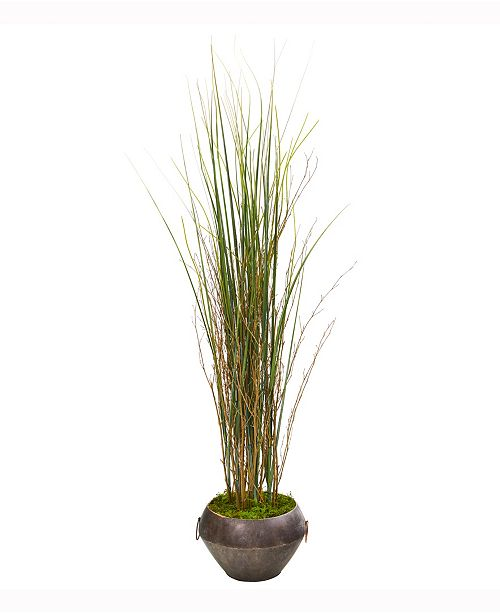 Nearly Natural 41in. Grass and Bamboo Artificial Plant in Metal Bowl