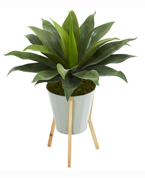 Nearly Natural 28in. Large Agave Artificial Plant in Green Planter with Legs