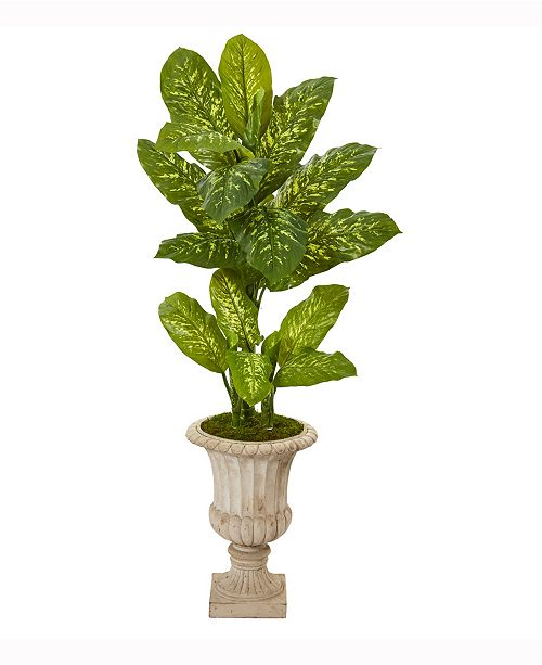 Nearly Natural 55in. Dieffenbachia Artificial Plant in Sand Finished Urn Real Touch