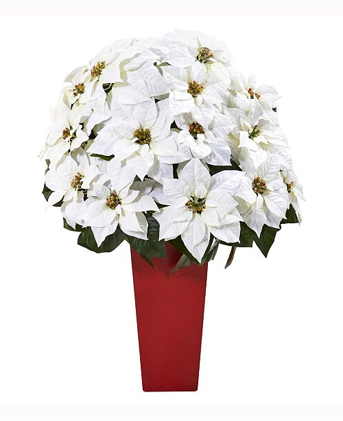 Nearly Natural 32in. Poinsettia Artificial Arrangement in Red Vase