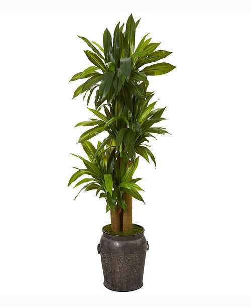 Nearly Natural 5ft. Corn Stalk Dracaena Artificial Plant in Metal Planter Real Touch
