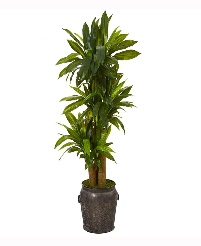 Nearly Natural - 5ft. Corn Stalk Dracaena Artificial Plant in Metal Planter Real Touch