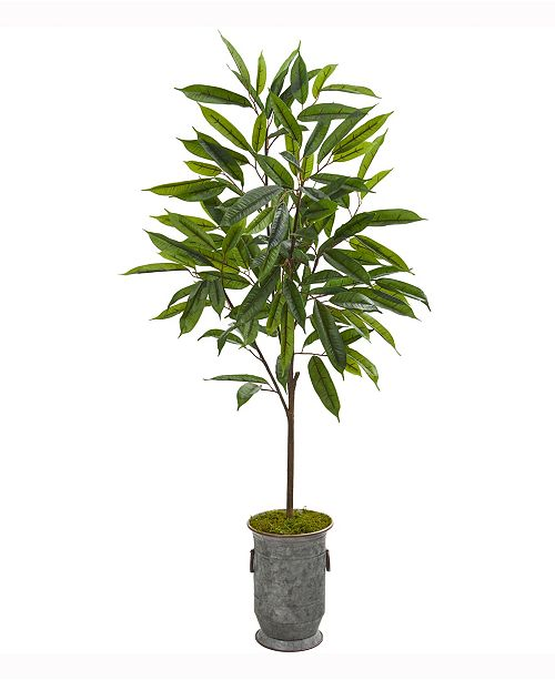 Nearly Natural 53in. Ficus Artificial Plant in Vintage Metal Planter