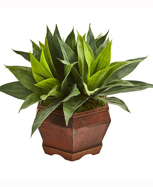 Nearly Natural 16in. Agave Succulent Artificial Plant in Decorative Planter