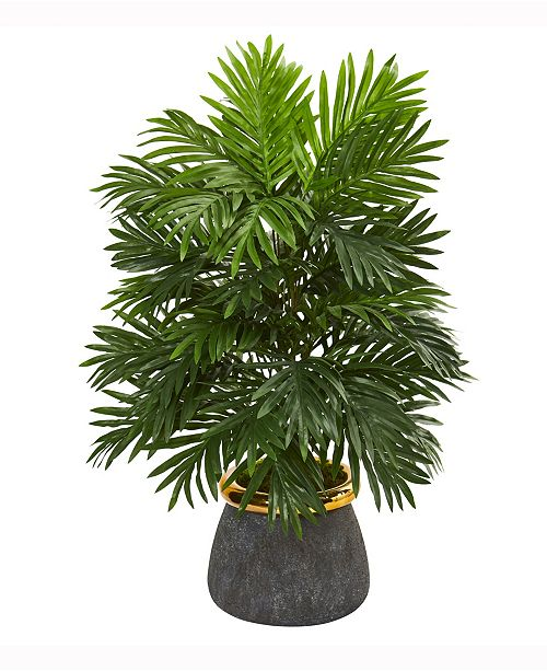 Nearly Natural 29in. Areca Palm Artificial Plant in Planter with Brass Trimming