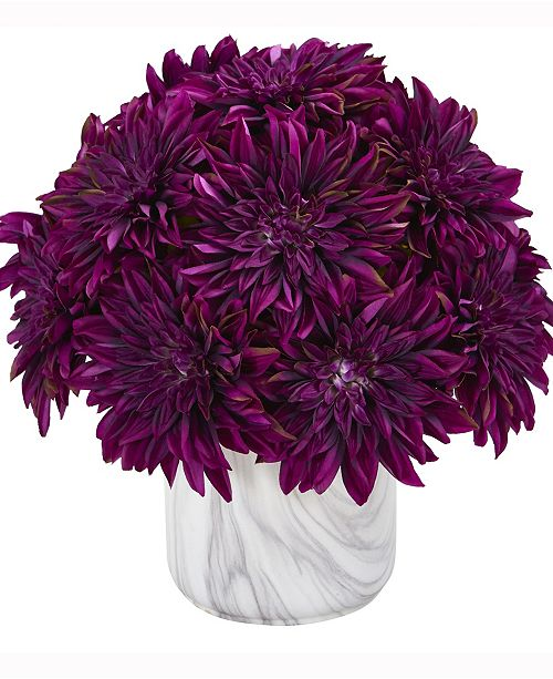 Nearly Natural 15in. Dahlia Artificial Arrangement in Marble Finished Vase