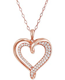 "Diamond Double Heart 18"" Pendant Necklace (1/2 ct. t.w.) in 14k Rose Gold-Plated Sterling Silver"