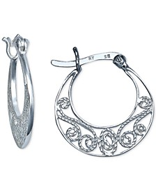 "Small Filigree Hoop Earrings in Sterling Silver, 0.7"", Created For Macy's"