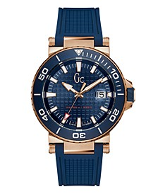 Gc Men's Diver Code Blue Silicone Strap Watch 44mm