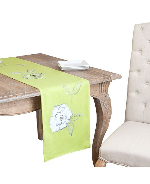 Saro Lifestyle Pastel Lime Flower Embroidered Table Runner