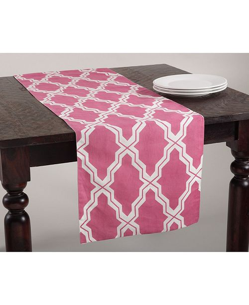 Saro Lifestyle Moroccan Design Cotton-Linen Table Runner