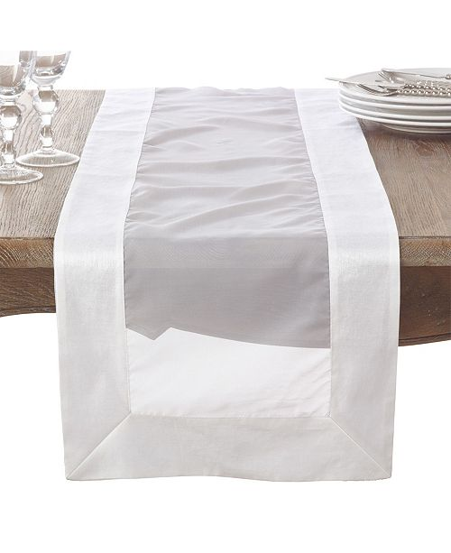 Saro Lifestyle Satin Border Wedding Event Sheer Table Runner