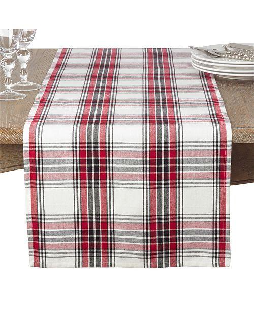 Saro Lifestyle Classic Plaid Pattern Cotton Table Runner