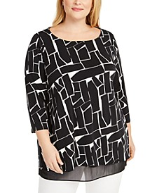 Plus Size Printed Mesh Underlay Top, Created for Macy's