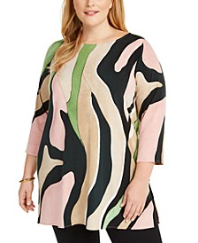Plus Size Animal Print Tunic Top, Created For Macy's