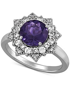 Amethyst (1-3/4 ct. t.w.) & White Topaz (5/8 ct. t.w.) Flower Ring in Sterling Silver