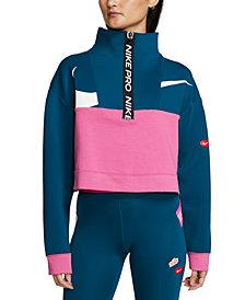Nike Women's Pro Get Fit Colorblocked Fleece Half-Zip Top