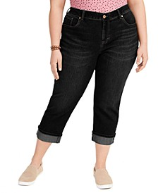 Plus Size Tummy-Control Cropped Cuffed Jeans, Created for Macy's