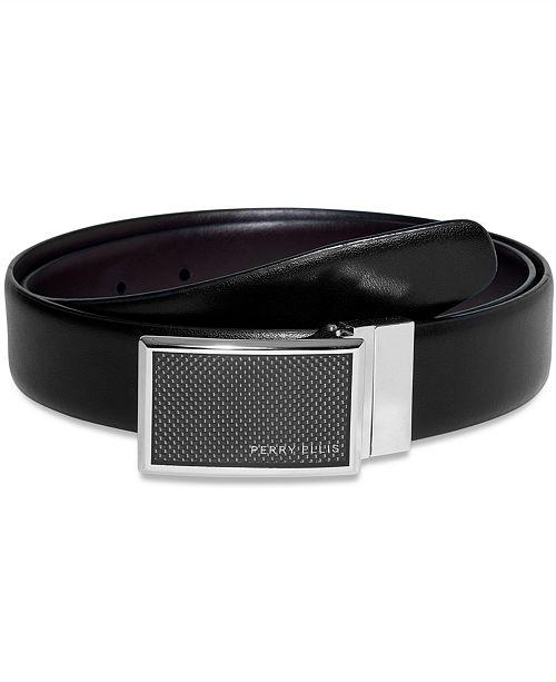 Perry Ellis Men's Leather Graphite Plaque Reversible Belt