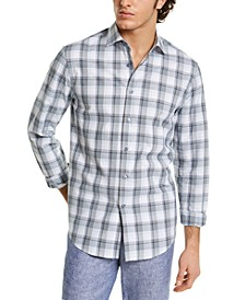 Men's Stretch Plaid Bouclé Shirt, Created for Macy's