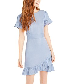 Juniors' Chambray Ruffle-Hem Dress
