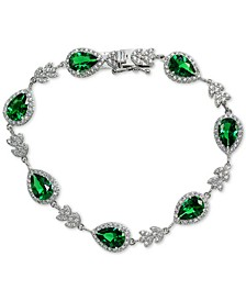 Cubic Zirconia Green Teardrop Halo Link Bracelet in Sterling Silver