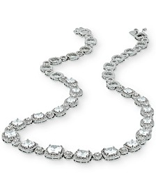 "Cubic Zirconia Cushion Halo 18"" Statement Necklace in Sterling Silver"