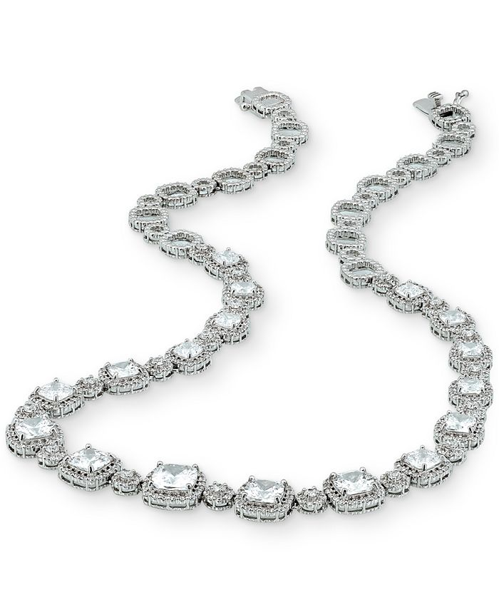 """Macy's - Cubic Zirconia Cushion Halo 18"""" Statement Necklace in Sterling Silver"""