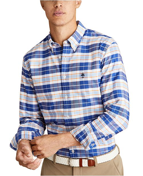 Brooks Brothers Men's Red Fleece Plaid Oxford Shirt