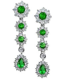 Cubic Zirconia Green Statement Drop Earrings in Sterling Silver