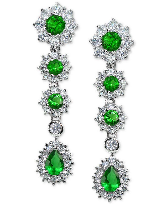 Macy's - Cubic Zirconia Green Statement Drop Earrings in Sterling Silver