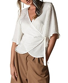 Lydia Wrap Top With Flounce Sleeves