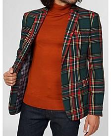 Deluxe Men's Pine Green Tartan Christmas Blazer