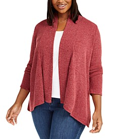 Plus Size Marled-Knit Cardigan