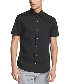 Men's Performance Stretch French Placket Solid Short Sleeve Shirt