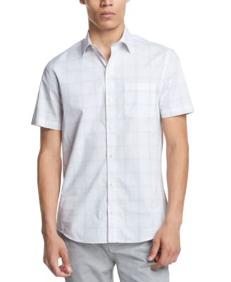DKNY Mens Stretch Dye Check Button Up Shirt