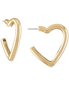 "Gold-Tone Medium Puffy-Heart Open Hoop Earrings, 1.75"""