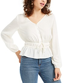 Juniors' Jacquard Drawstring Blouse