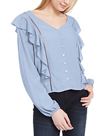 Juniors' Ruffle Jacquard Top
