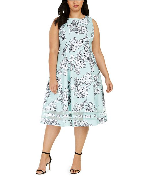 Calvin Klein Plus Size Floral Fit & Flare Midi Dress