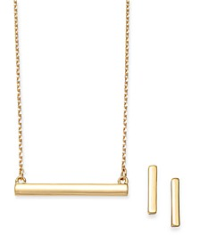 2-Pc. Set Polished Bar Pendant Necklace & Matching Stud Earrings, Created for Macy's