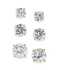 3-Pc. Set Cubic Zirconia Graduated Stud Earrings, Created for Macy's