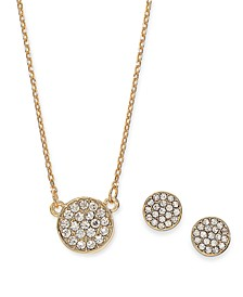 Gold-Tone 2-Pc. Set Pavé Disc Pendant Necklace & Matching Stud Earrings, Created for Macy's