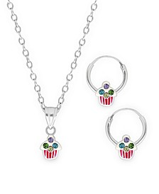 Children's Crystal Cupcake Pendant Necklace Hoop Earrings Set in Sterling Silver