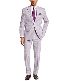 Men's Classic-Fit Lavender Windowpane Suit Separates