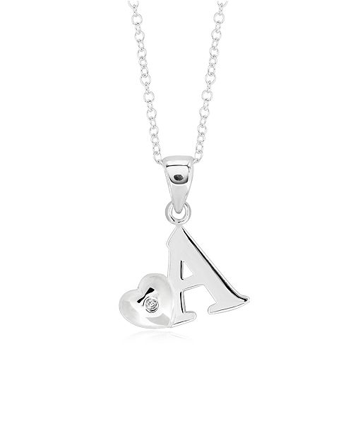 Rhona Sutton Children's  Initial Heart Pendant Necklace in Sterling Silver
