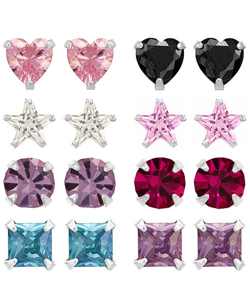 Rhona Sutton Children's  Colored Cubic Zirconia Shapes Stud Earrings - Set of 8  in Sterling Silver